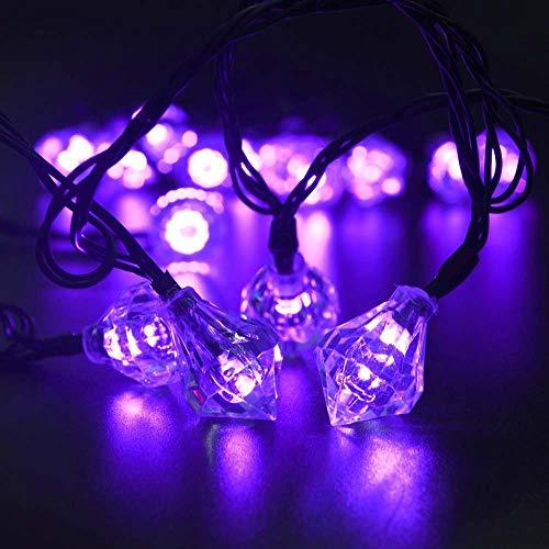 Cadena de luces Dormitorio Rainbow Light Dormitorio Luces Impermeables Operadas Para Jardín De Casa Diamante Cuerda Regalo Celebración Decoración Vacaciones Decoración, Zafiro