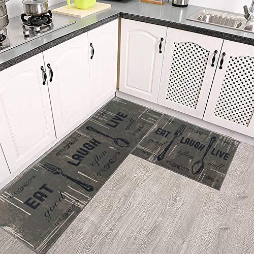 Carvapet 2 Piece Kitchen Rug Set Non-Slip Backing Mat Throw Rug for Kitchen Doormat Runner Rug Set, Motto Design, Taupe(17
