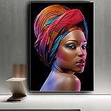Sexy Mujer Africana Desnuda Negra con Labios Rojos Lienzo Pi