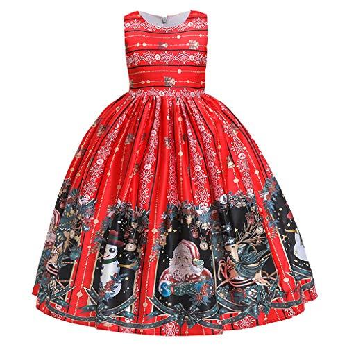 Kolylong 2018 Noël Bustier Robe Tutu de soirée Chic canoniques Déguisement Costume Rouge père noël Imprimer pour Bébé Filles Princesse Enfants vêtements Tenues pour Filles (M-Rouge, 8 Ans)