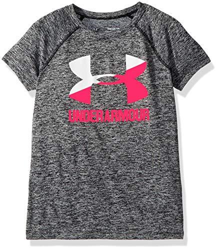 Under Armour Girls' Novelty Big Logo Short Sleeve T-Shirt,Black /Penta Pink, Youth X-Small