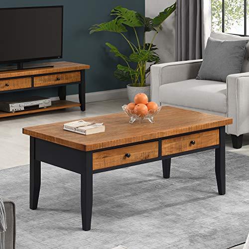 B&D home - Couchtisch, Wohnzimmertisch, Kaffeetisch, Sofatisch, für Wohnzimmer, Büro, Retro, Kieferholz massiv, Schwarz Braun, mit 2 Schubladen, 110 x 58 x 48 cm, einfache Montage