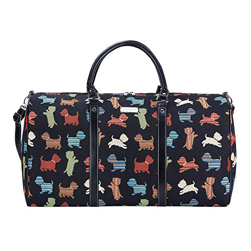 Signare Tapestry Large Duffel Bag Overnight Bags Weekend Bag for Women with Dog Design (Playful Puppy, BHOLD-Puppy)