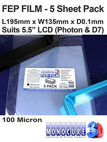 Monocure3D 3DFF510-5P FEP Film 100 Micron (5er Pack) für 5.5