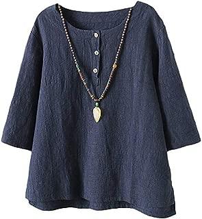 Women's Linen Tops Shirts Summer Casual Jacquard Tunic Blouse