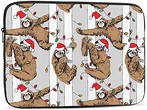 BONRI Deers and Trees Funda para computadora portátil compatible con la funda clásica para computadora portátil de 10-17 pulgadas - Divertido perezoso marrón con sombrero de Santa'a, 12 pulgadas