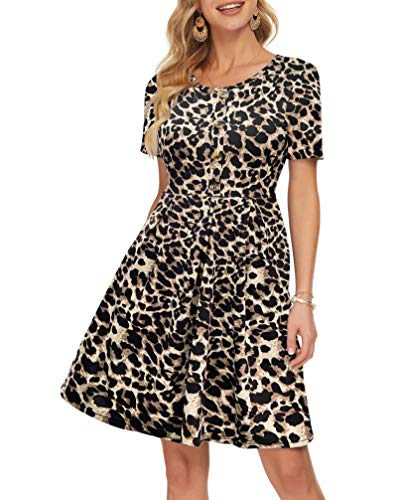 AUSELILY Women's Short Sleeve Lightweight Tiered Top Dress with Button Detailing(L,Spotted Pattern Leopard)
