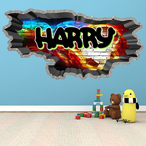 3D Football Soccer Graffiti Personalised Custom Brick Wall Art Sticker Decal for Teenagers Girls and Boys