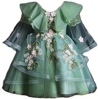 Aoluqiqing Vestido para niñas Niña de Las Flores Niños Primavera Princesa Falda Vestido Esponjoso (Verde Bosque) Párrafo C...