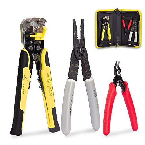 KOTTO Wire Stripper Crimping Tool Kit, 8 Inch Self-Adjusting Wire Stripper, Automatic Wire Stripping Tool with Multi-Tool Wire Cutter and Wire Cutter, Cutting Pliers Tool with Storage Bag