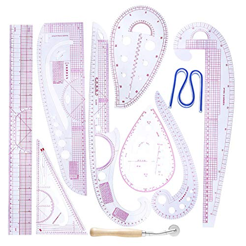 Bonarty - Juego de 10 Reglas de Moda con Forma de varía, Curva Francesa, patrón de Curvas, Regla Curva, Juego de Regla, diseño Craft Sewing Tool