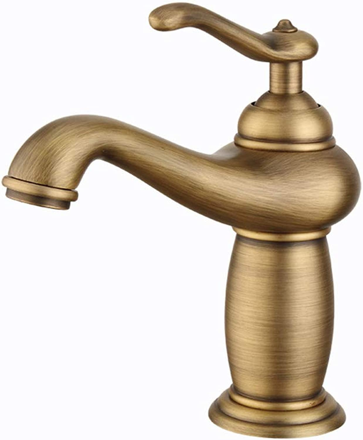 Copper Faucet, Vintage Kitchen Faucet Taps Bathroom Antique Finish Brass Single Sink Tap Kitchen Home USE European Copper Basin Faucet Hot and Cold Water Mixer