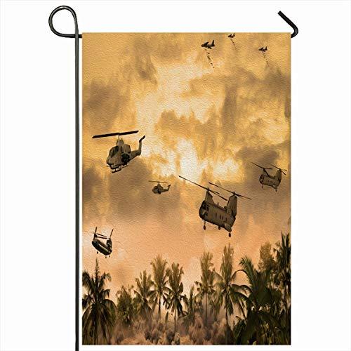 Outdoor Garden Flags 12,5 'x 18' Zoll Hubschrauber Green Vietnam Hubschrauber über Technologie Kriegswaffe Vintage Orange Militärwaffe Boden vertikal doppelseitig Home dekorative Haus Hof Zeichen