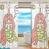 Las cortinas transparentes de la ventana creen en la decoración del hogar del salón unicornio de Magic Mermaid para la sala de estar Habitación para niños de 200x140cm, cortinas de voile 2 paneles