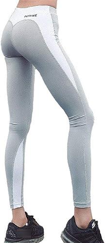 Femmes Sport Yoga Pantalons Serrés Femmes Fitness Power Stretch taille haute Fitness FonctionneHommest Leggings d'entraîneHommest FonctionneHommest Fitness Workout Gym Pantalon moulant ( Couleur   Ash+blanc , Taille   M )