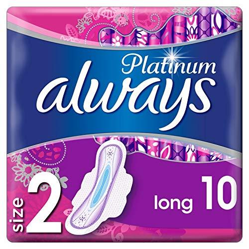 always Platinum Long Serviettes Hygiéniques avec Ailettes Taille2 10 Unité