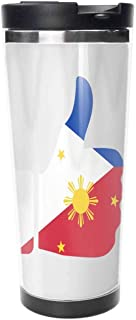Flag Of The Philippines On Hand Coffee Mugs 18 Oz Travel Gift Tea Cup.Travel Coffee Cup,Drinking Cup, Female Male,Double stainless steel vacuum insulation,Thermos cup-511ML