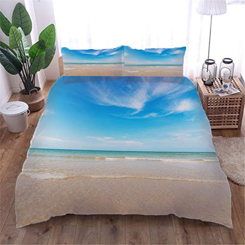 AOUAURO Super king Duvet Cover Set Beach scenery 3D Printed Quilt Cover Bedding Set with Zipper Closure in 100% Polyester for Children Kids Teens Adults 1 Quilt Cover 2 Pillowcases 260x220cm 3PCS
