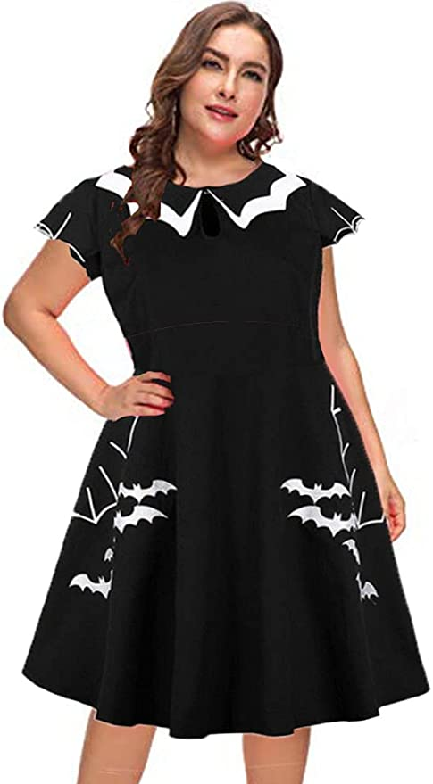 Easy Retro Halloween Costumes – Last Minute Ideas MISSJOY Plus Size Womens Vintage Embroidery Spider Print 50s Style Cocktail Party Gothic Dress  AT vintagedancer.com