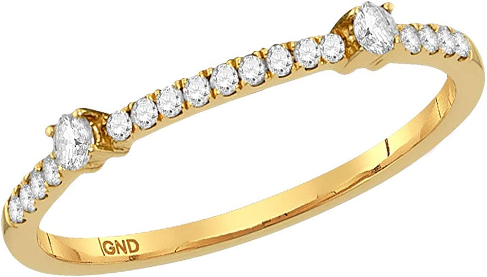 Saris and Things 10kt Yellow Gold Womens Round Diamond Single Row Stackable Band Ring 1/6 Cttw