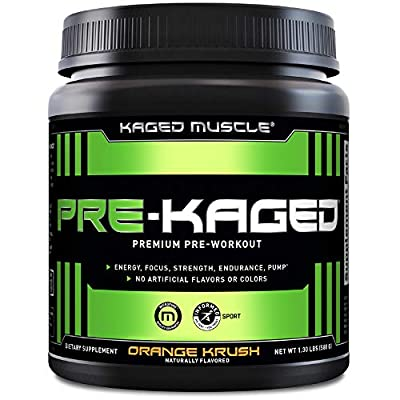 re Workout Powder; KAGED MUSCLE Preworkout for Men & Pre Workout Women, Delivers Intense Workout Energy, Focus & Pumps; One of the Highest Rated Pre-Workout Supplements, Orange Krush, Natural Flavors