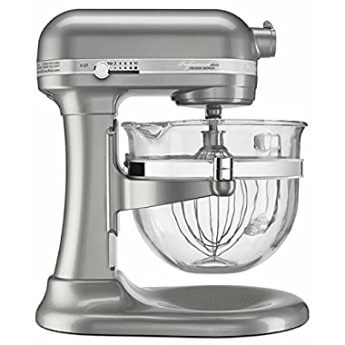 KitchenAid KSM6521XSR Professional 6500 Design Series Sugar Pearl Silver Bowl-Lift Stand Mixer with 6 Quart Glass Bowl