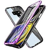 Gypsophilaa Funda de Adsorción Magnética Compatible con Samsung Galaxy Note 9,[360 Full Body Protection] Vidrio temperado por Delante y por detrás Borde de Metal,Cubierta Carcasa para Galaxy Note9