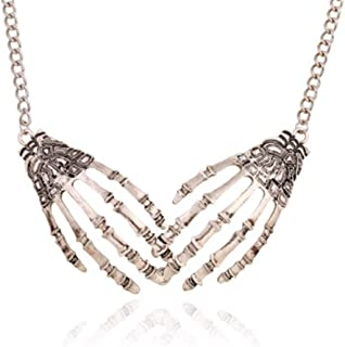 Skeleton Bone Hand Necklace Collar Necklace Gothic Double Skull Hand Claw Punk Necklace for Women Men