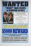 BLUES BROTHERS WANTED POSTER JAKE & ELWOOD BLUES BLUESMOBILE 11 x 17 DODGE MONACO 440 POLICE CAR MOVIE BELUSHI AYKROYD MAN CAVE BAR GARAGE SHOP RESTAURANT COLLECTION SIGN WALL ART GIFT