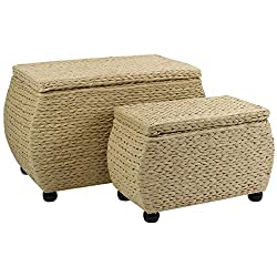 Hartleys Pair Of Natural Woven Storage Trunks Includes Large & Small Trunks Perfect for use in hallways, bathrooms, bedrooms or as an extra seat - Simple elegant design fits perfectly with your home decor - Ideal for blankets, laundry, towels, beddin...