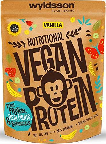 Vegan Protein Powders (28 Servings, 1kg) - All Natural Vegan Protein Shake High in Iron & Zinc with Fruits, Botanicals & Plant Based Protein Powder, Gluten Free, Dairy Free, Lactose Free (Vanilla)