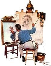 Norman Rockwell Triple Self Portrait 1960 Art Print - 8 in x 10 in - Unmatted, Unframed