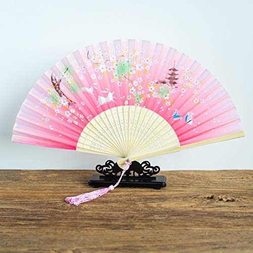 Folding Silk Hand Ventilator (1 stuks) Chinees/Japans Vintage Retro stijl, eenvoudig en makkelijk te gebruiken, Hand Held Folding Fans met Bamboo Frame 20/5/9 (Color : E)