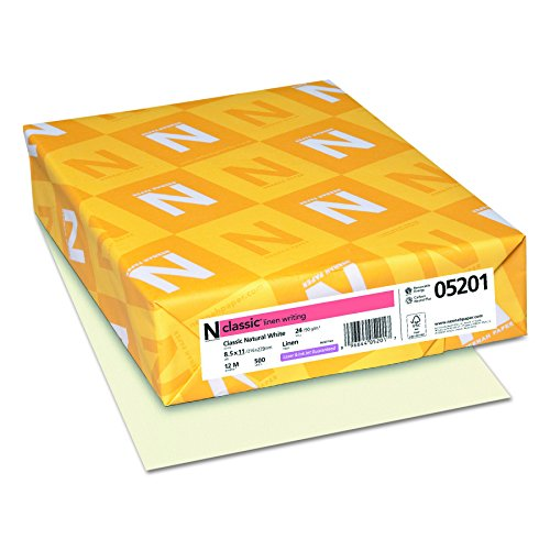 Neenah Classic Linen Writing Paper, Letter 8.5x11 Inches, 24lb, Classic Natural White (Ivory), 500 Sheets (05201)