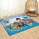 Large Puzzle Alfombra de la Patrulla Canina de la Alfombra de la Sala de los Niños Sofá Dormitorio de la Mesita de Noche de Anime Antideslizante Rectangular Juego Pad 91x61cm
