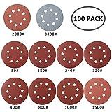 100 PCS Disque de ponçage, disque abrasif, papier sablé, papier de verre pour grain...
