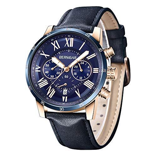 BERSIGAR Herren-Armbanduhr, luxuriöses Zifferblatt, Lederarmband, Chronograph, Analog, Quarz