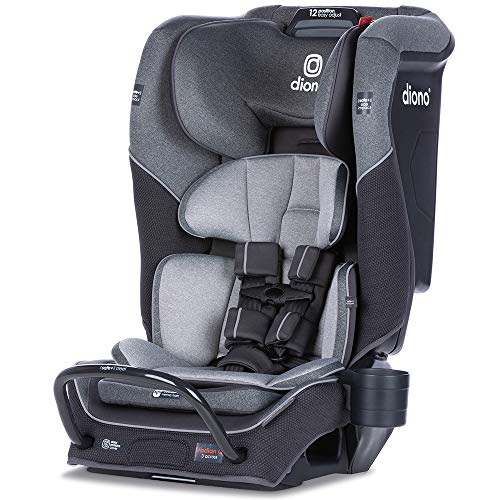 Diono Radian 3QX 4-in-1 Rear & Forward Facing Convertible Car Seat | Safe+ Engineering 3 Stage Infant Protection, 10 Years 1 Car Seat, Ultimate Protection | Slim Design - Fits 3 Across, Gray Slate