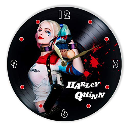 "Leooolukkin Harley Quinn Vinyl Clock 12"", Wall Clock Painted Harley Quinn, Original Gifts, The Best Gift for Teenagers and Adult Animated Television Series Lovers, Unique Wall Art Home Decor"