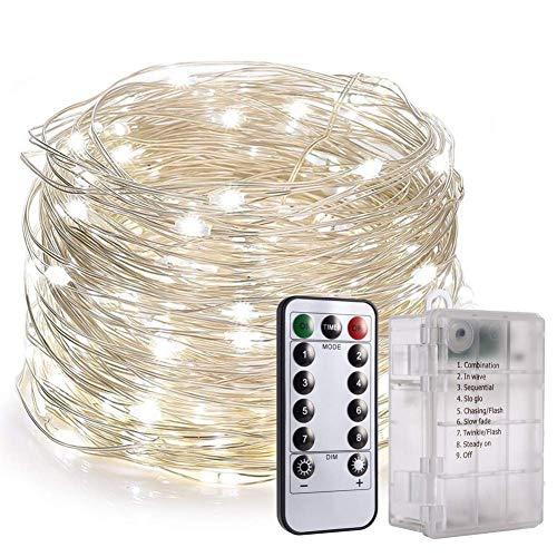 Fairy String Lights, PChero 33FT 100 LEDs Lichterketten Wasserdichte 6 * AA-Batterie mit 8 Flackernden Modi und Fernbedienung für Geburtstag, Hochzeit, Party, Weihnachtsdekoration [Tageslichtweiß]