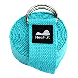 REEHUT Yoga Strap 6ft with Ebook - Durable Polyester Cotton Exercise...