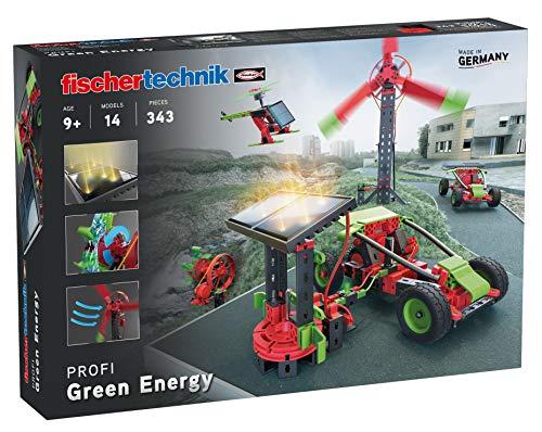 fischertechnik Experimentierkasten Green Energy zum Thema erneuerbare Energien Stromerzeugung durch Solar, Windkraft & Wasserkraft mit 14 Modellen für Kinder ab 9 Jahren