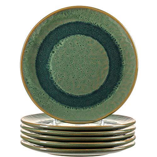 Leonardo Matera Keramik-Teller 6-er Set, spülmaschinengeeignete Speise-Teller, Essteller mit Glasur, 6 runde Steingut-Teller grün, Ø 22,5 cm, 018539