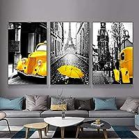 レトロなヨーロッパの街並みの絵アート絵画黄色い車と傘のポスターとプリントホームリビングルームの壁の装飾-50x70cm3個フレームなし