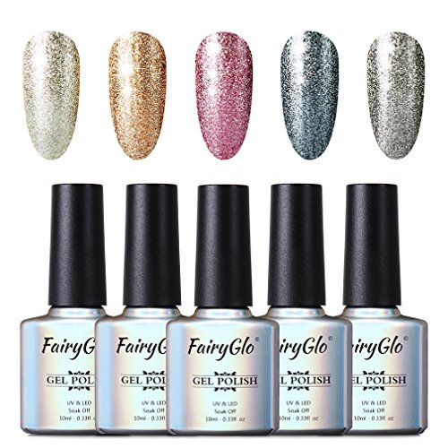 Smalto Semipermente per Unghie in Gel UV LED 5pcs Set per Manicure Smalti Gel per Unghie Soak Off 10ml di Fairyglo-Kit 58001