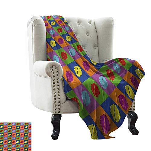 Manta con peso para adultos, estilo pop art, besos en cuadrados de colores vibrantes 58s estilo seductor romántico, multicolor acogedora manta para sofá, cama, playa, viajes, 152 x 198 cm