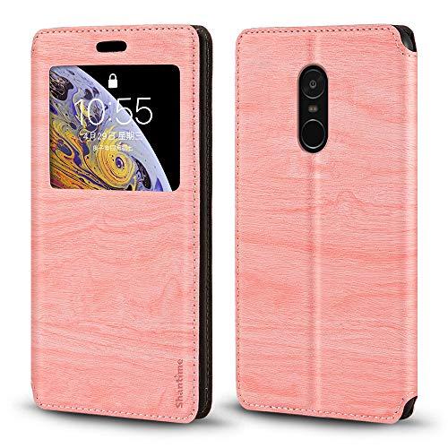 Xiaomi Redmi Note 4 Caso, Madera Grain Cuero Funda con Titular de la Tarjeta y Ventana, Tapa Magnética Flip Cover para Xiaomi Redmi Note 4 (Rosa)