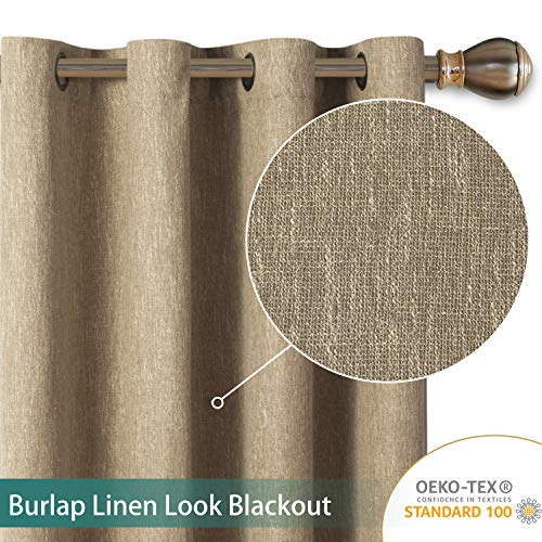 LORDTEX Burlap Linen Look Textured Blackout Curtains for Bedroom with Thermal Insulated Liner - Heavy Thick Grommet Window Drapes for Living Room, 50 x 95 Inch, Tan, Set of 2 Panels