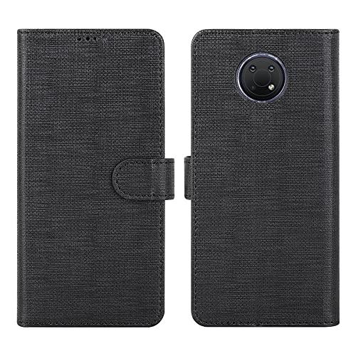 DDJ Schutzhülle für Nokia G10, Brieftasche, Klapphülle, Leder, 360 Grad Schutz, kompatibel mit Nokia G10 (Nokia G10, Schwarz)