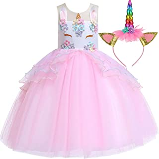 Little Girl Unicorn Costume Clothes Unicornio Skirt Princess Party Dress